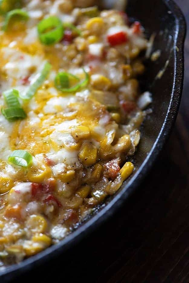Cheesy hot corn dip! This is the perfect snack or appetizer!