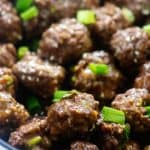 teriyaki meatballs in pot.