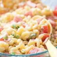My whole family loves this BLT pasta salad recipe. It's packed with bacon, tomatoes, and green onions.