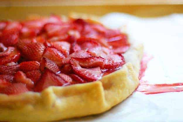 A close up of a strawberry crostata.