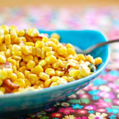 A closeup of a bowl of corn