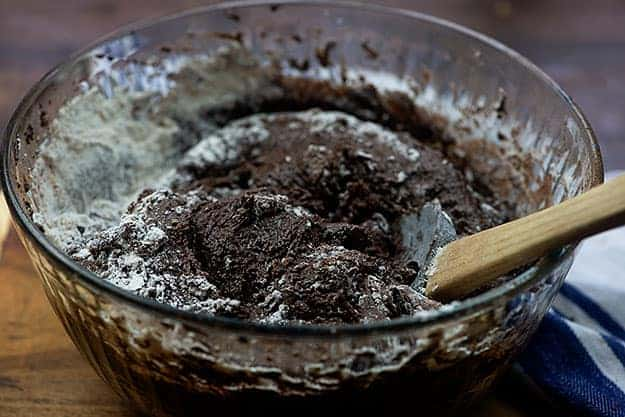 brownie batter in glass bowl