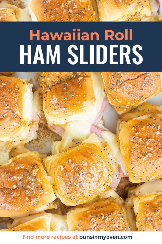 overhead view of hot ham and cheese sliders in baking dish.