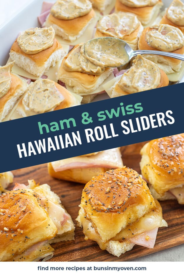 collage of ham and cheese slider images.