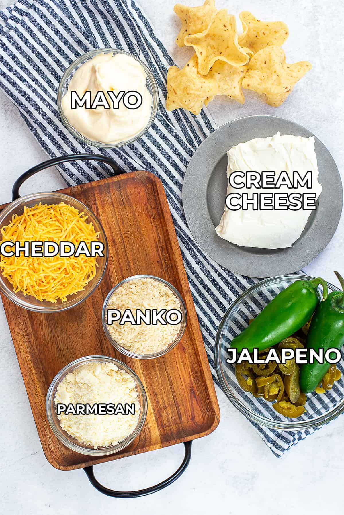 ingredients for jalapeno cream cheese dip.