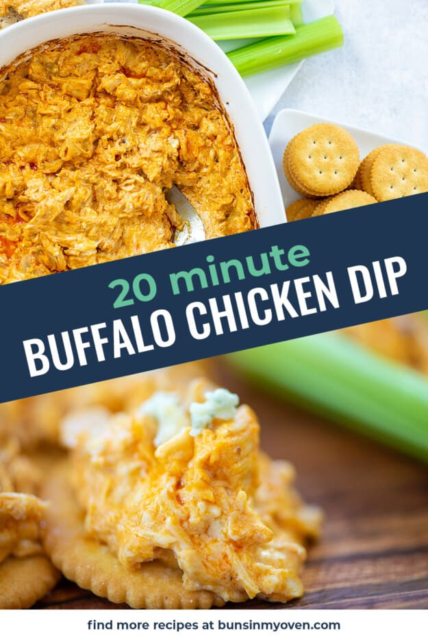 collage of buffalo chicken dip images with text for Pinterest.