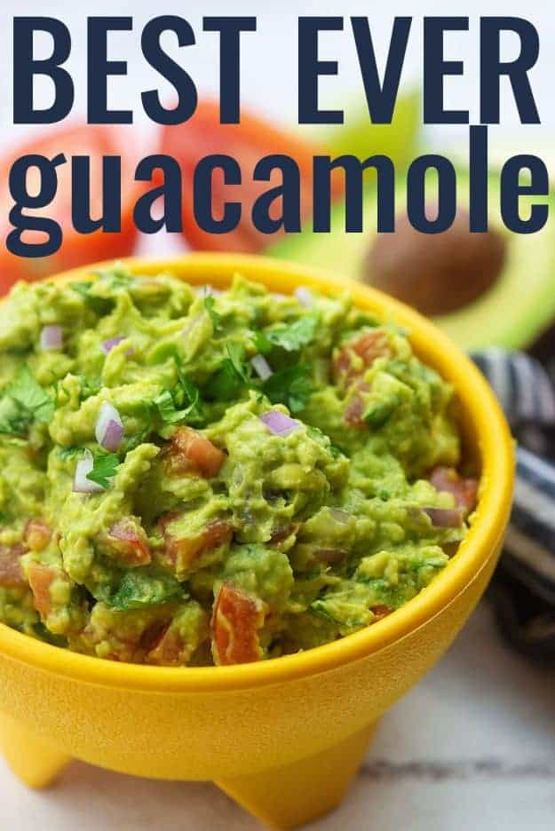 best guacamole dip in yellow bowl
