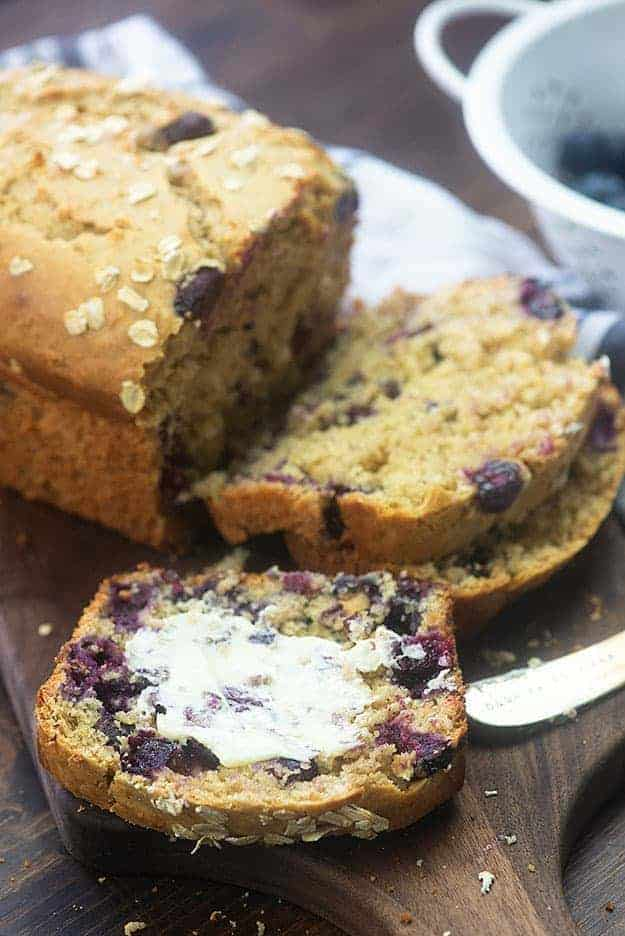 blueberry bread with butter