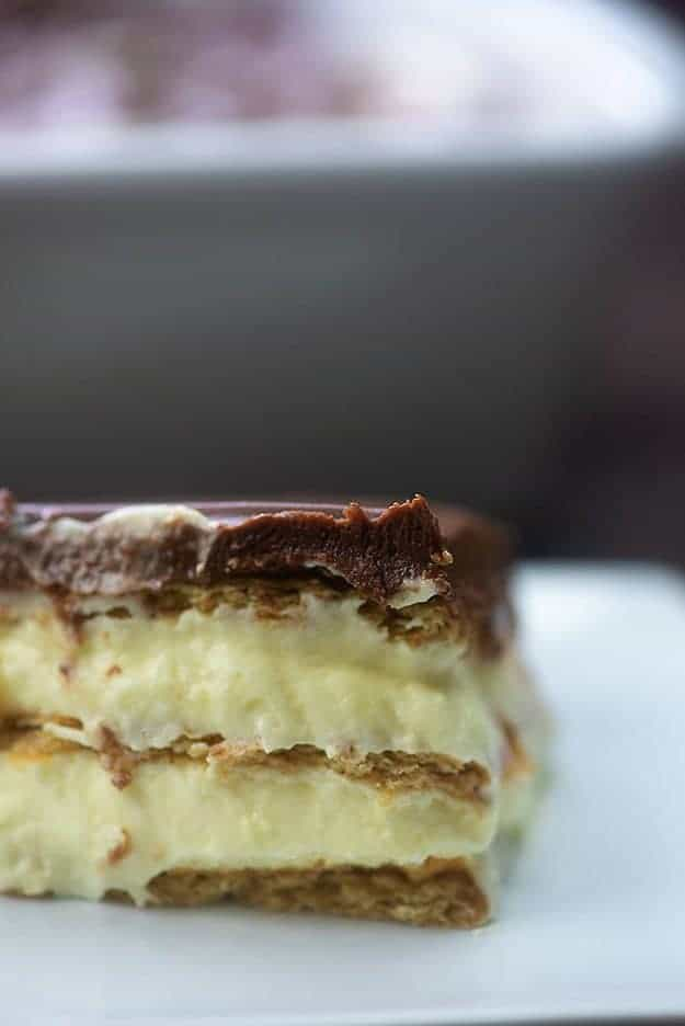 Close up of eclair cake.