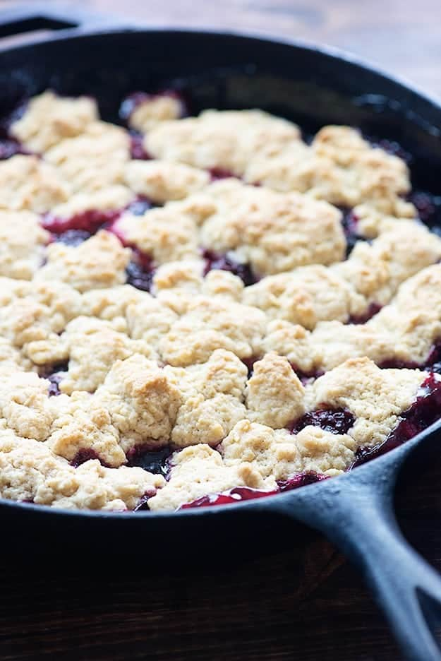 blackberry cobbler in cast iron pan