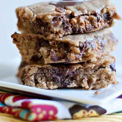 Three stacked up peanut butter brownies