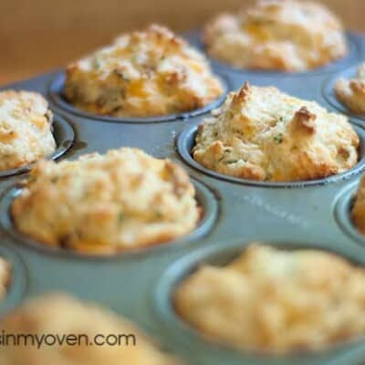 Biscuit muffins in a muffin pan