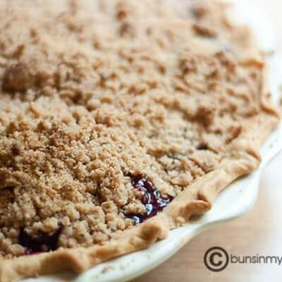 A closeup of cherry pie
