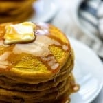 easy pumpkin pancakes on white plate