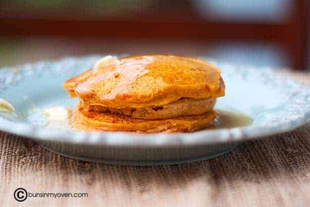 My pumpkin pancake recipe makes thick and fluffy pancakes.
