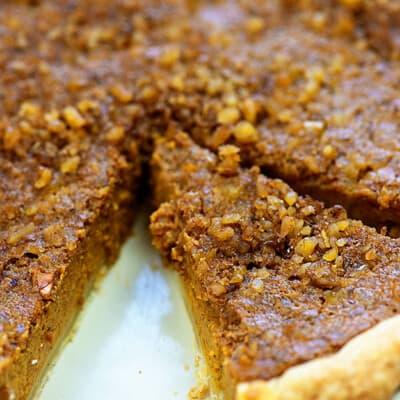 walnut topped pumpkin pie