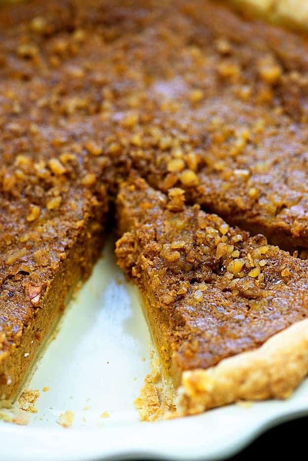 walnut topped pumpkin pie
