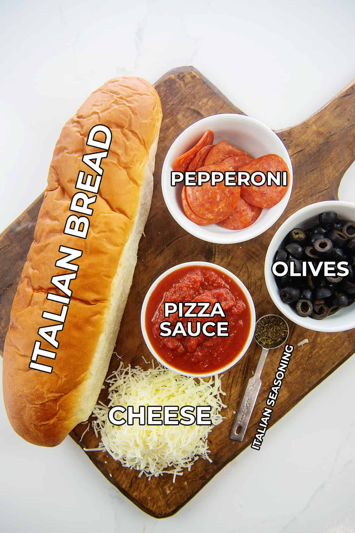 overhead view of ingredients for pizza bread.