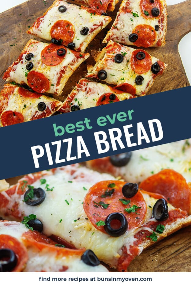 collage of french bread pizza images.