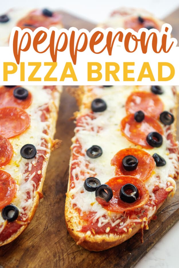 pizza bread with text for Pinterest.