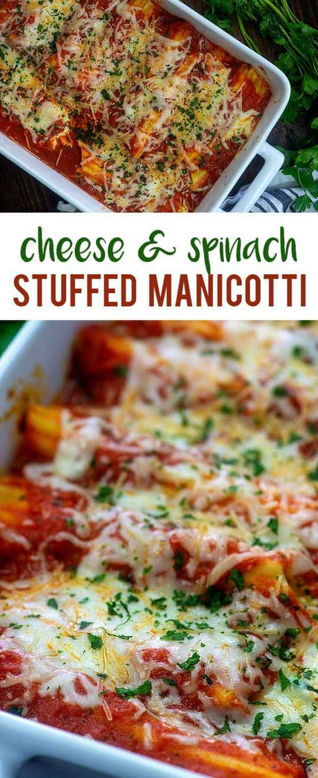 cheese and spinach manicotti recipe in baking dish