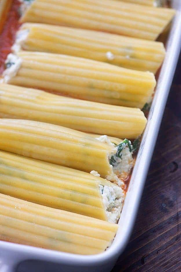 cheese manicotti recipe in white baking dish