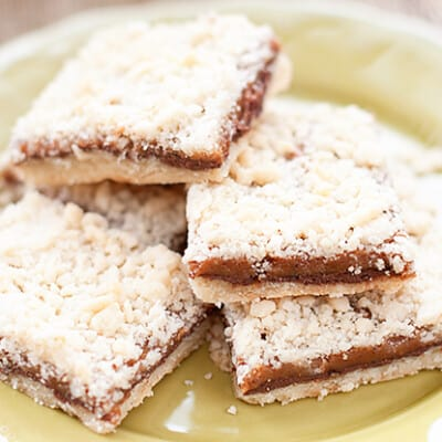Five Nutella crumb bars on a plate