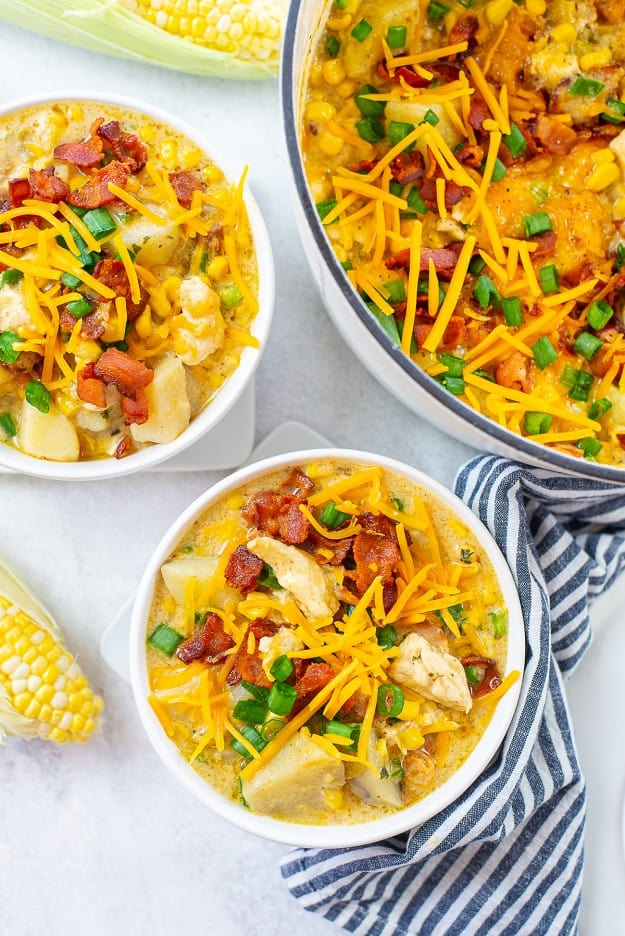 corn and chicken chowder in bowls.