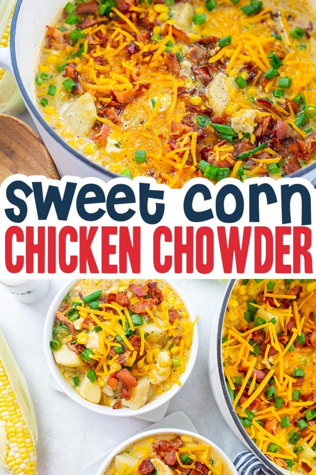 corn chowder image collage for pinterest.