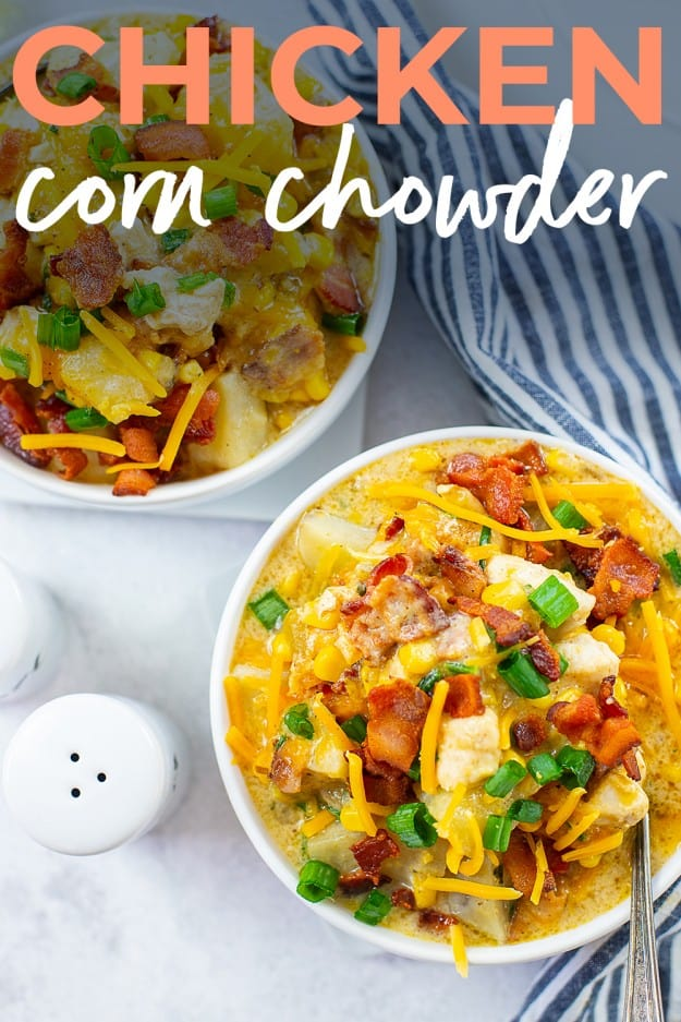 bowls of corn chowder on white counter.