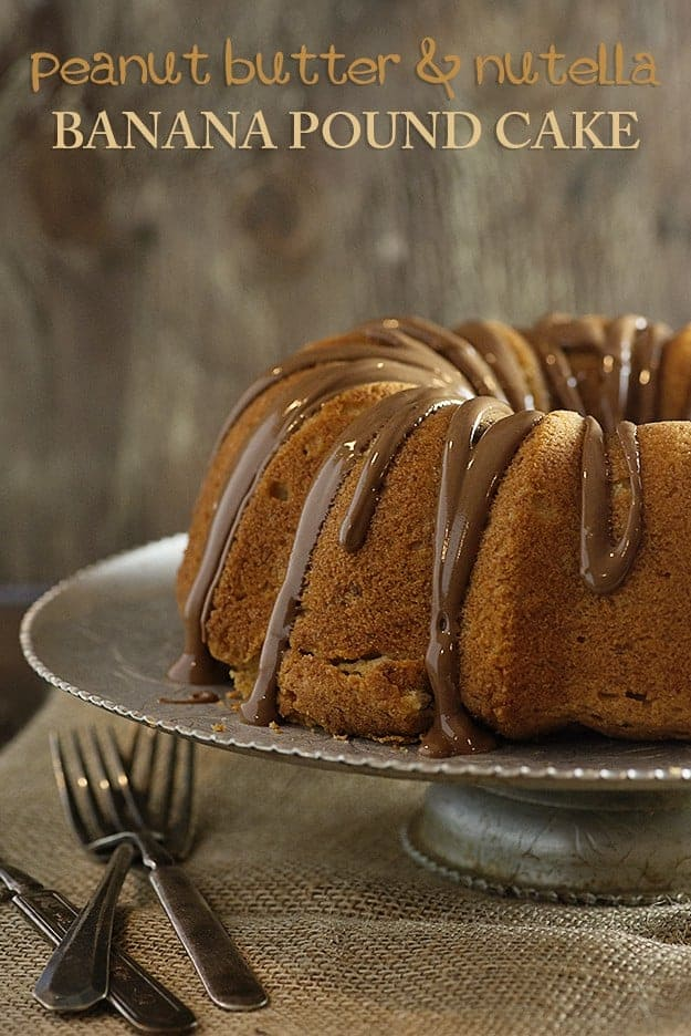 This banana pound cake is loaded with peanut butter and Nutella!