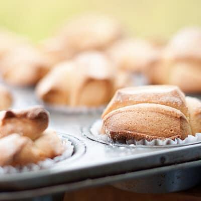 Brioche buns in a muffin pan