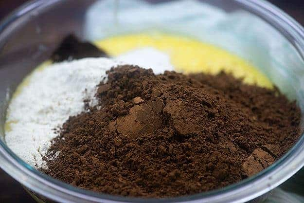 brownie ingredients in bowl