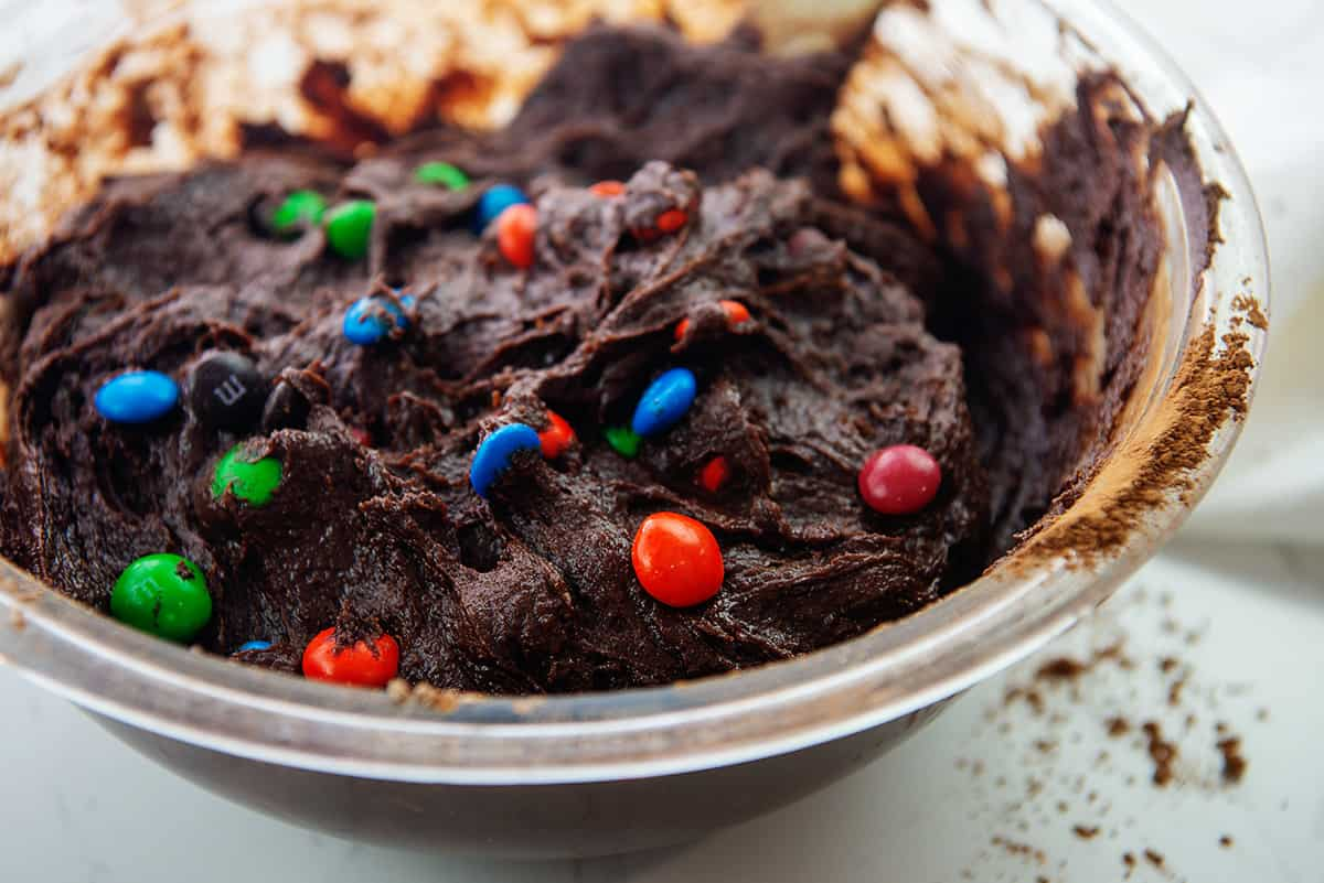 brownie batter with m&m candies.