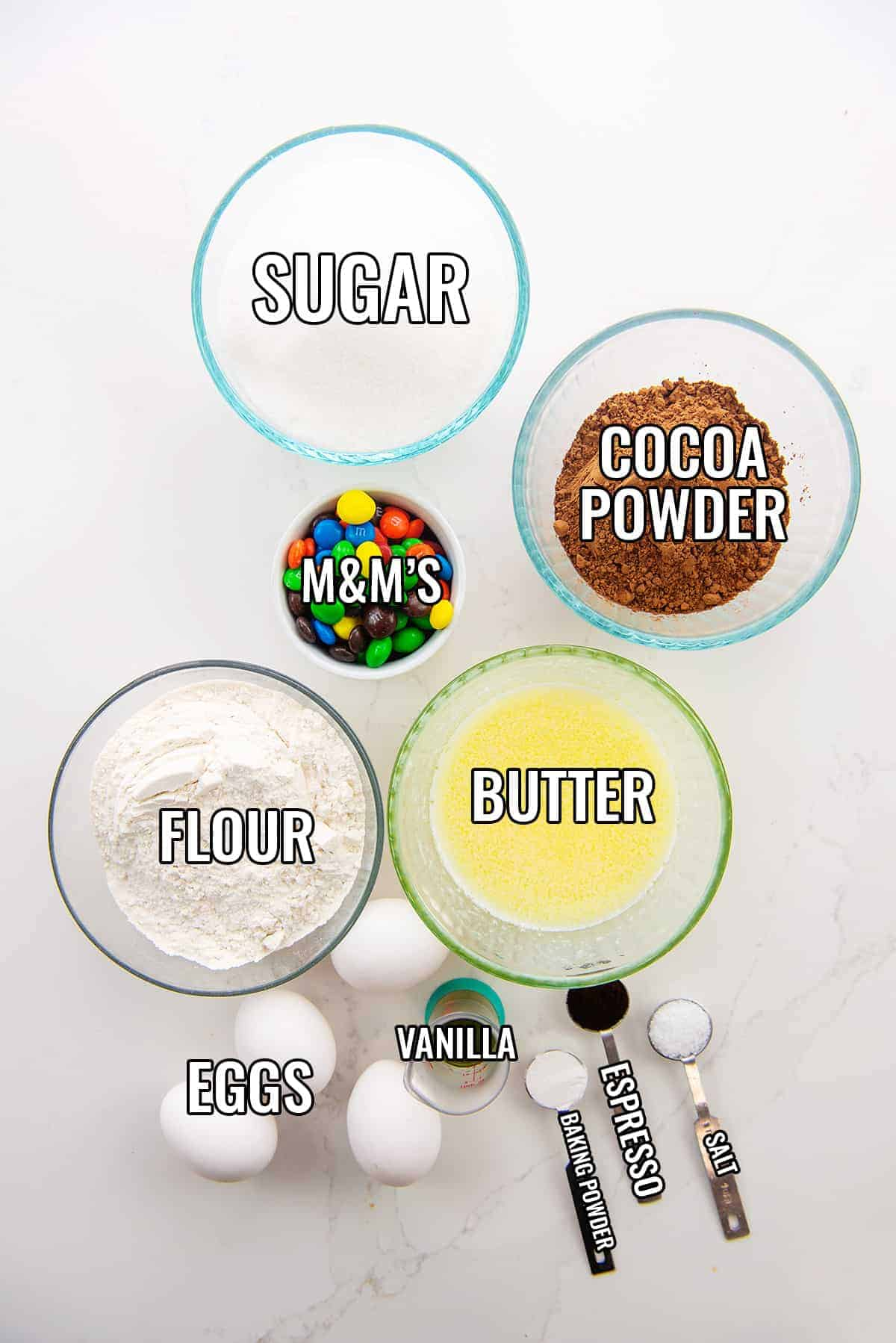 ingredients for brownies with labels.