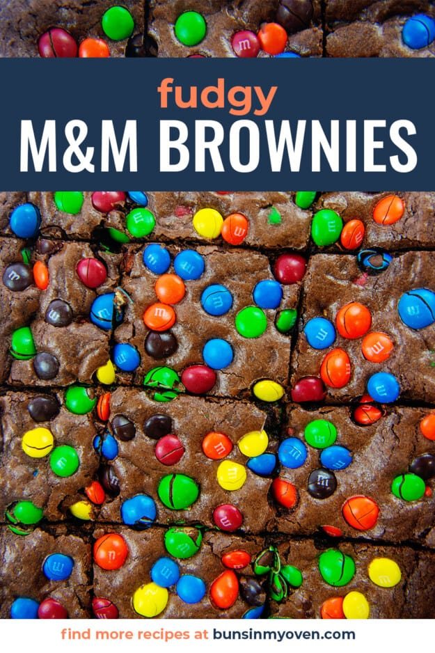 brownies topped with m&m's