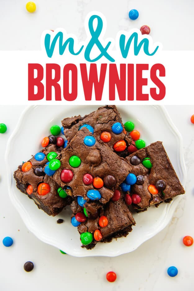 plate full of brownies with text for Pinterest.