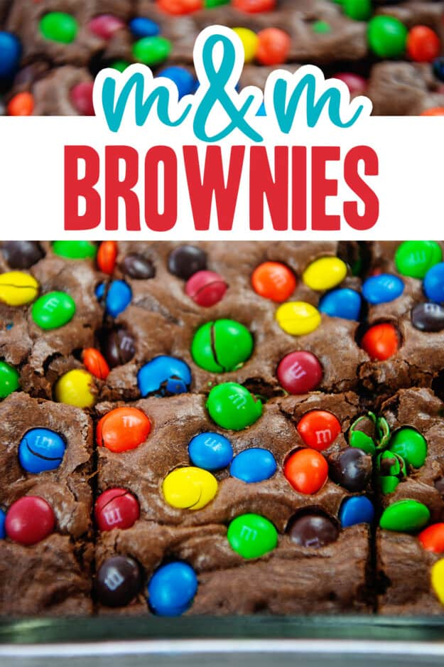 brownies topped with m&m's in baking dish.