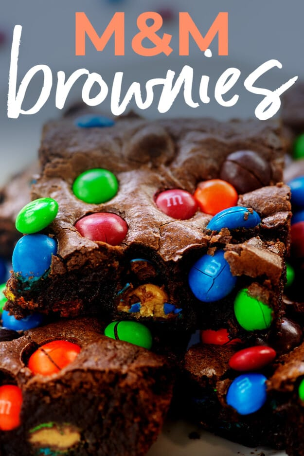 pile of brownies on plate with text for Pinterest.