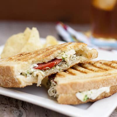 A closeup of Pesto chicken panini