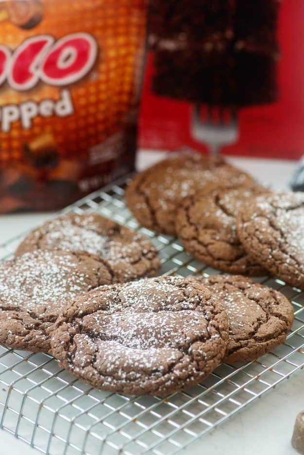 cake mix cookies on cooling rack.