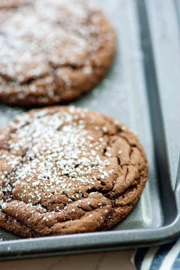 cake mix cookies on baking sheet.