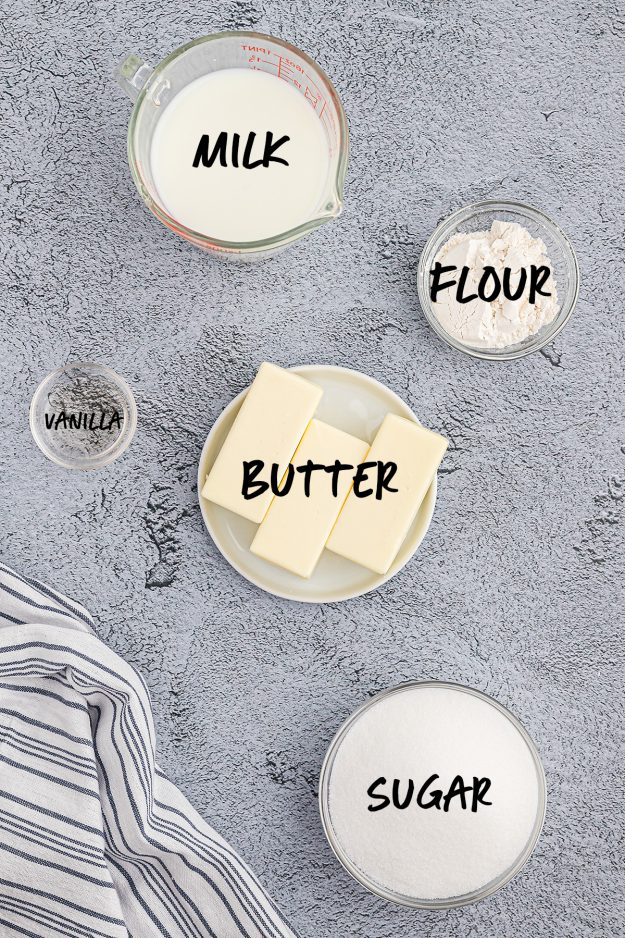 overhead view of ingredients for whipping frosting recipe.
