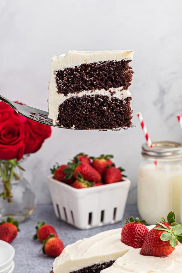 slice of cake on cake server.