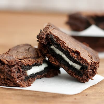 Closeup of two oreo brownies
