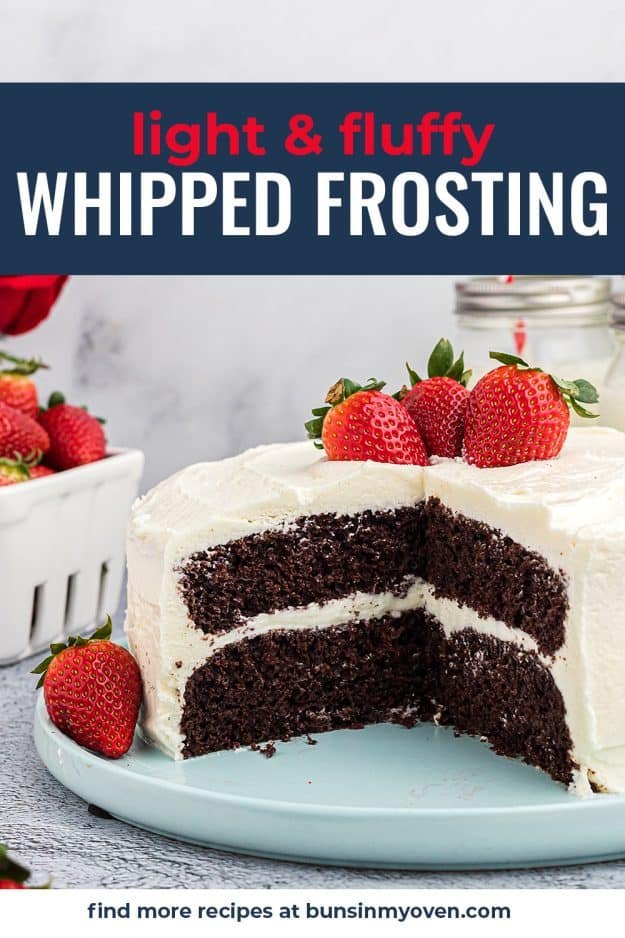 whipped frosting on chocolate cake on blue cake plate.