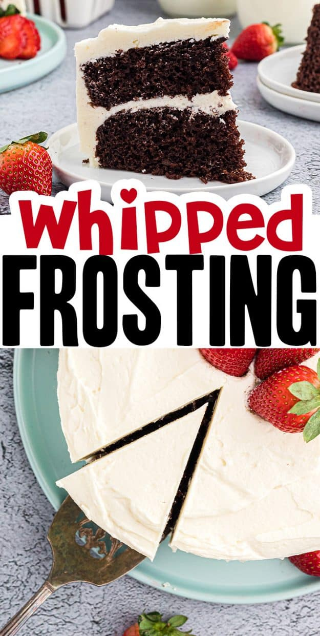 light and fluffy whipped frosting recipe photo collage.