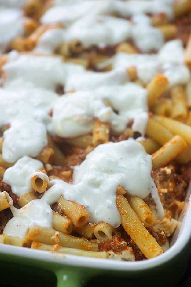 Baked Ziti - this is the BEST baked ziti recipe ever!! So cheesy, creamy, and always a hit. #recipe #ziti #italian