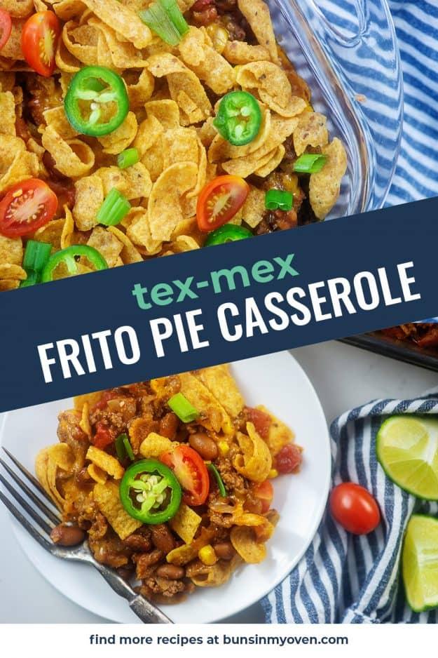 frito casserole photo collage for Pinterest.