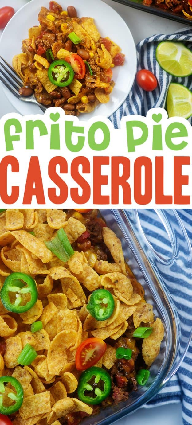 collage of frito casserole images.